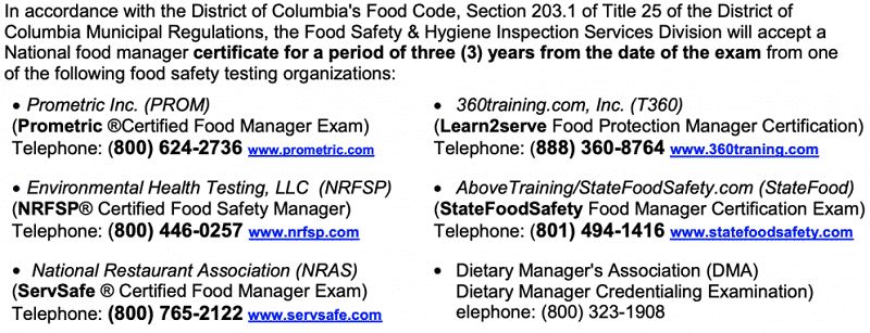 APPROVED FOOD MANAGER COURSES