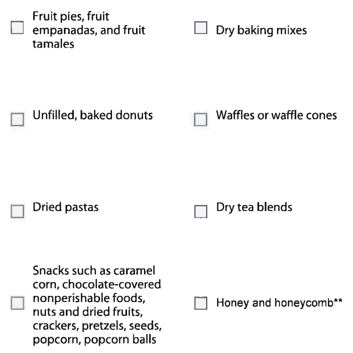 DC Cottage Approved Foods