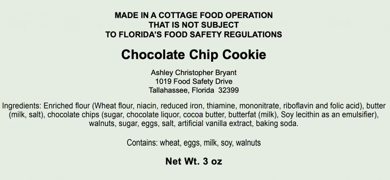 Florida cottage foods labeling