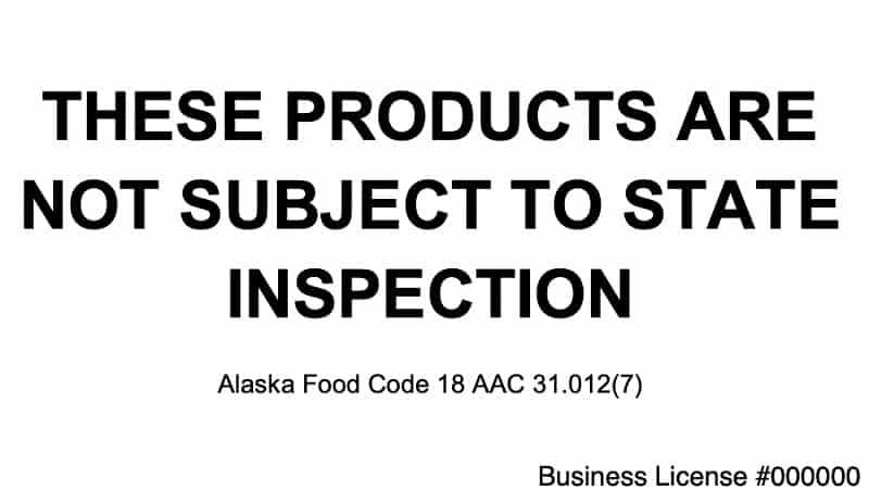 Alaska Cottage Food Laws - Labeling