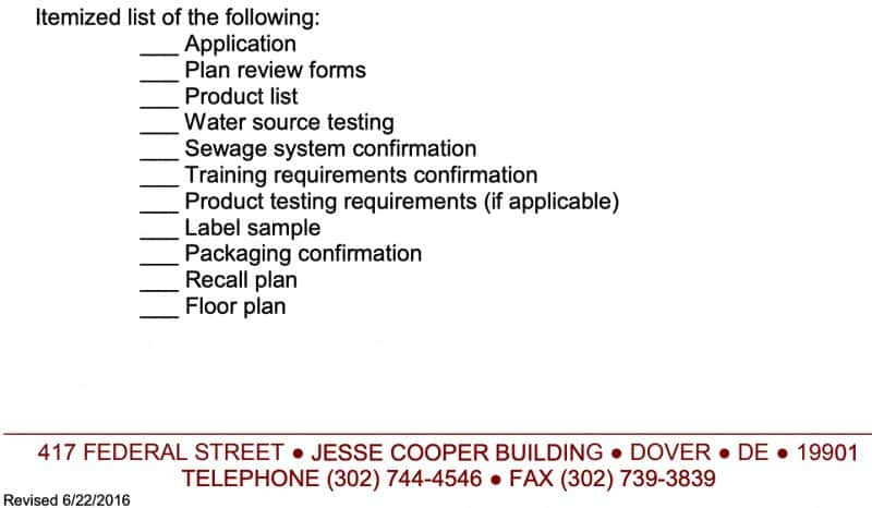Delaware Cottage Food Laws Checklist