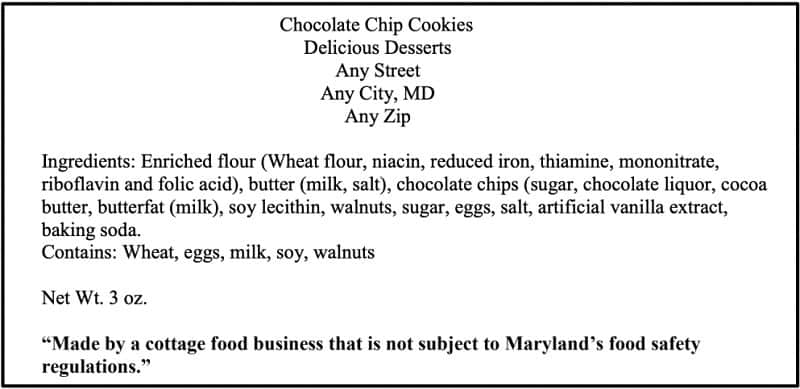 Maryland Cottage Food Laws Labeling