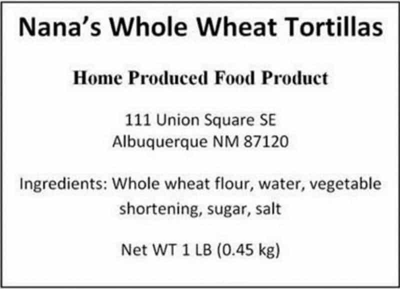 New Mexico Cottage Food Laws - Labeling example
