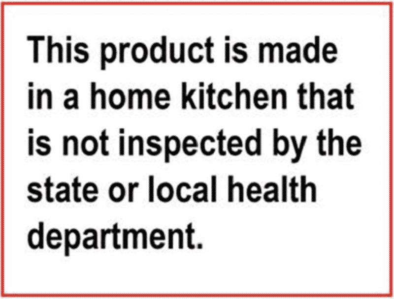 ND Cottage Food Laws - Labeling example